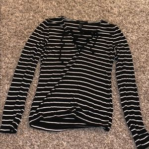 Lace up black and white striped long sleeve top